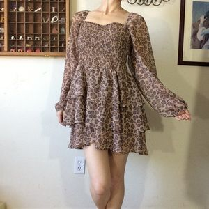 Express Leopard Ruffle Cupcake Date Night Dress